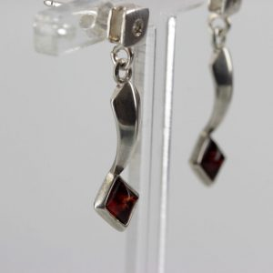 Italian Made Elegant Baltic Amber 925 Silver Earrings with Diamond Elements E0130 RRP£40!!!