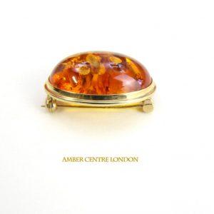 Italian Handmade Elegant German Baltic Amber Brooch in 9ct Gold GB0003 RRP£575!!