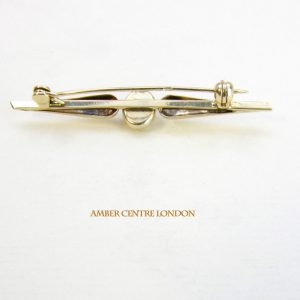 Italian Handmade Elegant German Baltic Amber Brooch 14ct Gold GB0027Y14 RRP£500!!!