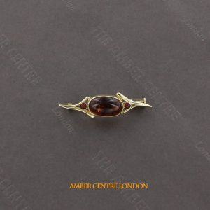 Italian Handmade Elegant German Baltic Amber Brooch in 9ct Gold GB0030 RRP£295!!!