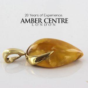 Butterscotch Antique German Unique Baltic Amber Pendant in 14ct solid Gold- GP0346Y RRP£995!!!
