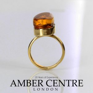 Amber Ring 14ct solid Gold German Baltic Amber with Ant insect Handmade GRR004 RRP£999!!!