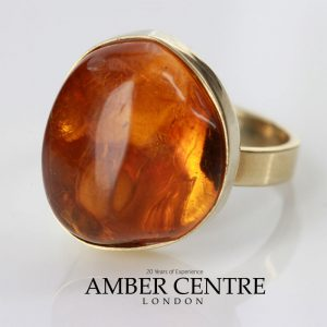 German Baltic Amber with Spider Handmade 9ct solid Gold Ring GRR011 RRP£600!!!