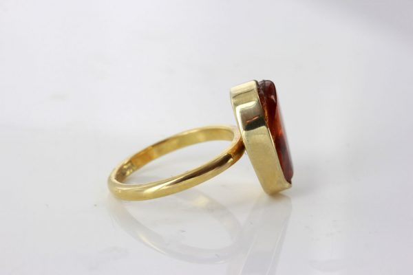 German Baltic Amber Handmade 14ct Gold Ring Containing Long legged Fly GRR014 RRP900!!!