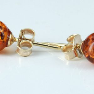 Italian Made Unique German Baltic Amber Bead Studs In 9ct Gold GS0152 RRP£95!!
