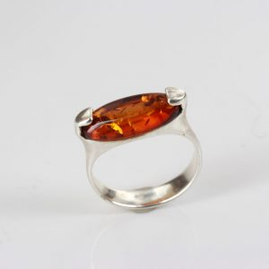 German Baltic Amber in 925 Sterling Silver Handmade Ring WR251 RRP£45!!!Size Q(58)