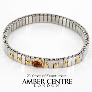 NOMINATION ITALIAN ELASTICATED BRACELET WITH BALTIC AMBER in 18ct GOLD BAN129 RRP£245!!!