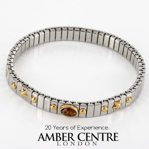 """NOMINATION ITALIAN """"DREAM"""" BRACELET ELASTICATED WITH German BALTIC AMBER in 18ct GOLD BAN133 RRP£245!!!"""