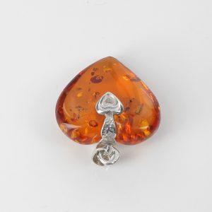 Handmade German Baltic Amber Heart Pendant 925 Silver -PD055 – RRP£50!!!