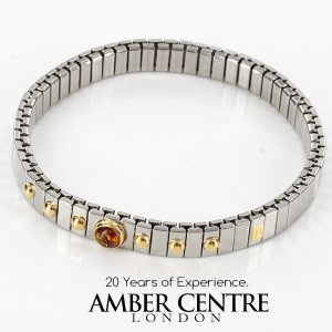 NOMINATION ITALIAN ELASTICATED BRACELET WITH BALTIC AMBER in 18ct GOLD BAN130 RRP£195!!!