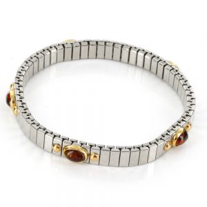 """NOMINATION ELASTICATED ITALIAN """"LUCKY"""" BRACELET WITH BALTIC AMBER in 18ct GOLD BAN134 RRP£295!!!"""