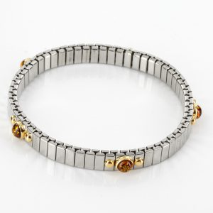 """NOMINATION ITALIAN ELASTICATED """"LUCKY""""BRACELET WITH BALTIC AMBER in 18ct GOLD BAN136 -RRP£295!!!"""