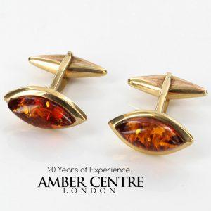 Italian Handmade German Baltic Amber Cufflinks In Solid 9ct Gold GF0019 RRP£525!!!