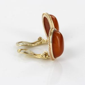Italian Handmade German Baltic Butterscotch Amber Clip Earrings In 9ct solid Gold -GCL0032 RRP£595!!!