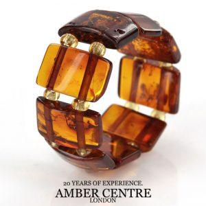 GERMAN BALTIC Deep orange cognac AMBER Handmade Elastic Ring RB034 RRP £35!!!