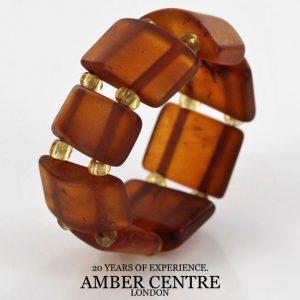 Rich Classic Cognac German BALTIC AMBER Handmade Elastic Ring RB035 RRP£35!!!