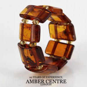 Rich Classic Cognac German BALTIC AMBER Handmade Elastic Ring RB036 RRP£35!!!