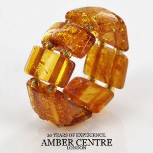 Opaque Rich Fiery Orange German BALTIC AMBER Handmade Elastic Ring RB038 RRP£35!!!