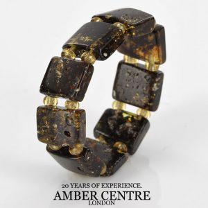 Precious Vintage German Green BALTIC AMBER Handmade Elastic Ring RB041 RRP£45!!!