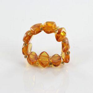 German BALTIC Fiery Orange Amber Handmade Elegant Elastic Ring RB043 RRP£35!!!