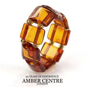 German Baltic Dark Fiery Orange Amber Handmade Elastic Ring RB045 RRP £35!!!