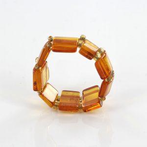 German Baltic Rich Fiery Orange Amber Handmade Elastic Ring RB046 RRP £35!!!