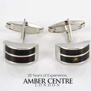 Italian Made Cufflinks German Baltic Amber In 925 Sterling Silver CF005 RRP£99!