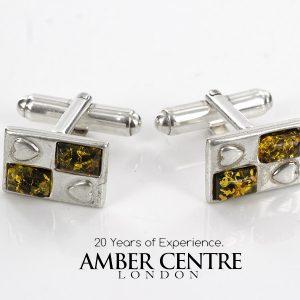 Italian Cufflinks German Green Baltic Amber 925 Sterling Silver CF006 RRP£95!!!