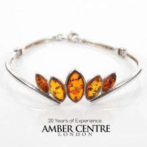 Italian Bangle Modern Stylish Handmade German Baltic Amber in 925 solid Silver Ban120 RRP£125