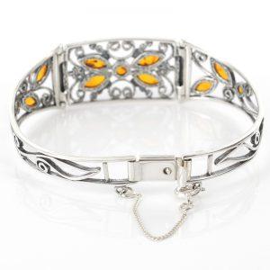 Italian Handmade Bangle Artistic Elegant Floral Baltic Amber 925 Silver Ban126-RRP£195!!!