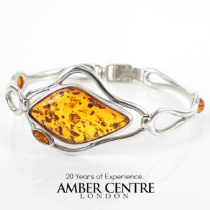 German Baltic Amber Bangle Handmade in Italy 925 solid Sterling Silver Ban127 – RRP£295!!!