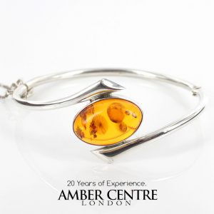 German Baltic Amber Bangle Elegant Modern 925 solid Silver Handmade BAN116 RRP£275!!!