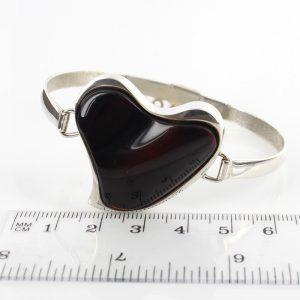 Italian Heart Bangle Elegant Cherry German Baltic Amber 925 solid Sterling Silver Handmade Ban115 RRP£325!!
