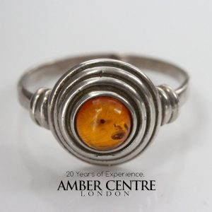 Beautiful German Cognac Baltic Amber 925 Silver Handmade Ring WR341 RRP£30!!!