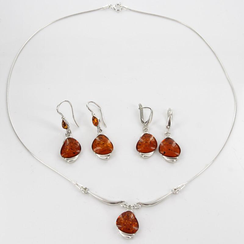 Italian Handmade German Baltic Amber Set 925 Sterling Silver- SET01 RRP£195!!!