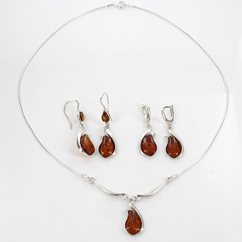 Italian Handmade German Baltic Amber Set 925 Sterling Silver- SET02 RRP£195!!!