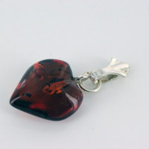 Baltic Amber Heart Shaped Pendant With Shell Loop PD076 RRP£20!!!