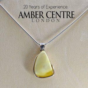 Antique Milky German Baltic Amber Pendant 925 Silver-PE0036 RRP£225!!!+ FreeChain