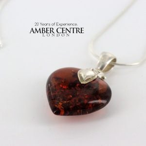 German Baltic Amber Heart Pendant with 925 Sterling Silver Loop PD079 RRP£75!!