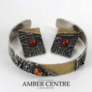 Handmade German Amber Clip Earrings and Bangle 925 Silver +14ct Gold Plated SET15 £495!!!