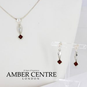 Italian Made Baltic Amber 925 Silver Necklace and Earrings Set with Diamond Elements SET17 RRP£125!!!