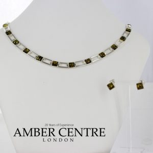 Italian Handmade German Green Baltic Amber Set 925 Sterling Silver- SET23 RRP£295!!!