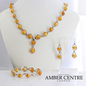 Antique Butterscotch German Baltic Amber Set includes Necklace/Earrings/Bracelet 925 Sterling Silver SET26 RRP£990!!!