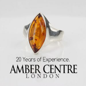 ITALIAN MADE GERMAN BALTIC AMBER RING 925 STERLING SILVER - SR008 RRP£50!!!