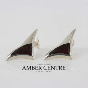 Elegant Modern German Baltic Amber Studs in 925 Silver Handmade ST0009 RRP£45!!!