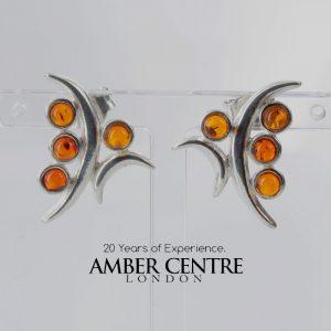 Unusual German Baltic Amber Stud Earrings 925 Silver ST0030 RRP£28!!!