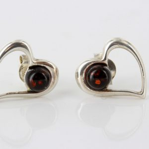 Heart Shaped German Baltic Amber Handmade Studs in 925 Silver ST0044 RRP£23!!!