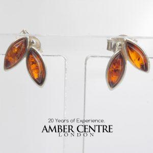 German Baltic Amber Handmade Elegant Stud Earrings 925 Silver ST0045 RRP£18!!!