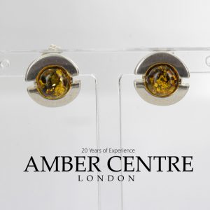 GERMAN BALTIC AMBER HANDMADE CLASSIC STUD EARRINGS 925 SILVER ST0065 RRP£25!!!
