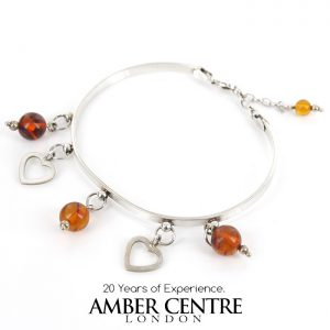 Bangle Italian Modern Stylish Handmade German Baltic Amber 925 solid Silver Ban119 RRP£139!!!